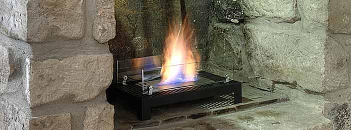 cheminée éthanol dans une ancienne cheminée