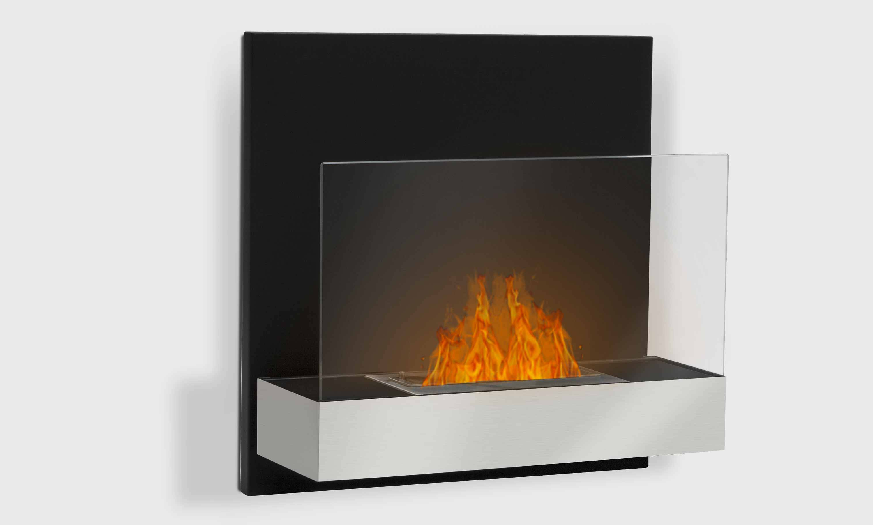 foyer ethanol mural tosno noir mat et inox. Black Bedroom Furniture Sets. Home Design Ideas